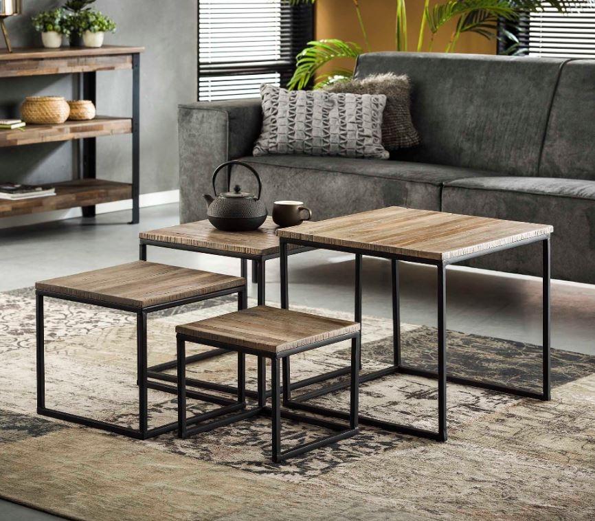 Vierkante salontafel set Teca in Teakhout greywash | Zaloni