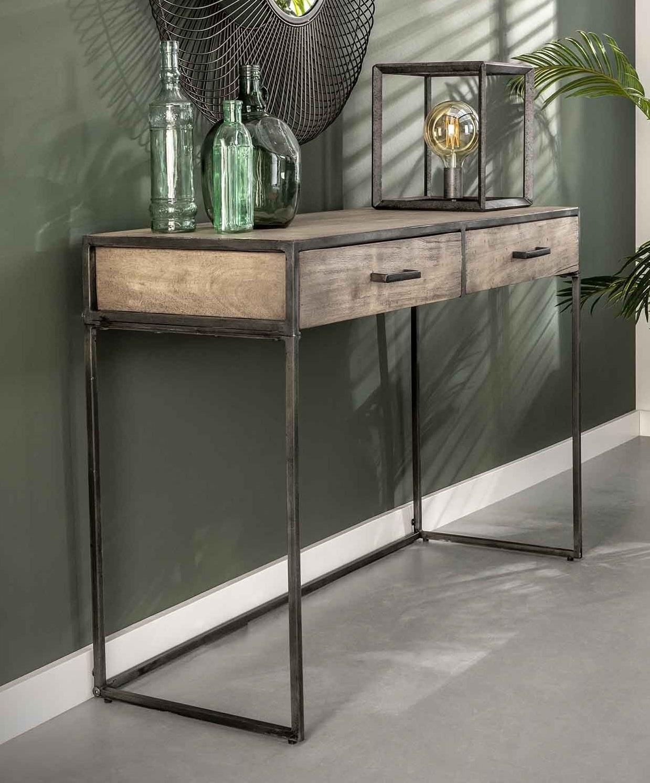 Wandtafel Zara 120 cm breed in acacia grijs antiek | Zaloni