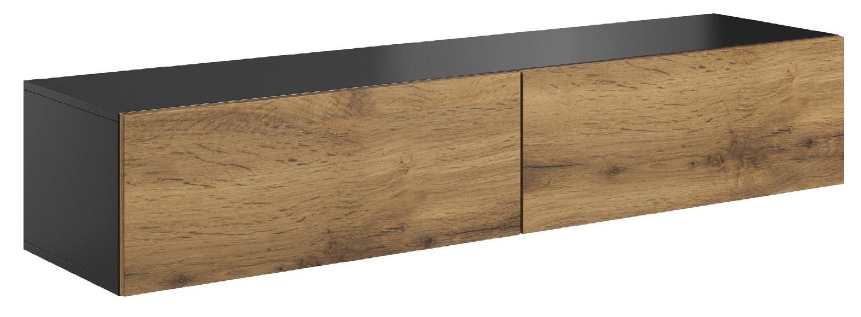 Zwevend Tv-meubel Livo 160 cm breed in votan eiken met antraciet | Home Style