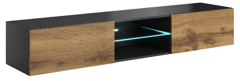 Zwevend Tv-meubel Livo 180 cm breed in votan eiken met antraciet | Home Style