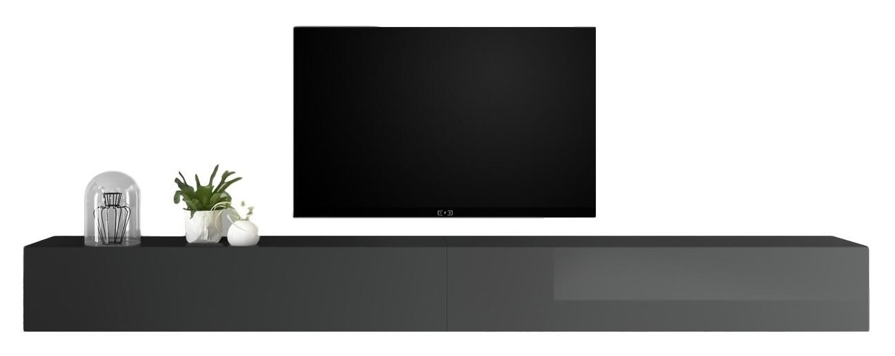 Zwevend Tv-meubel Tesla 276 cm breed in hoogglans grijs | Pesaro Mobilia
