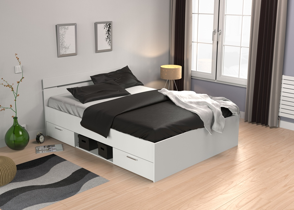 Tweepersoonsbed Lotte 140x200cm in wit | Young Furniture