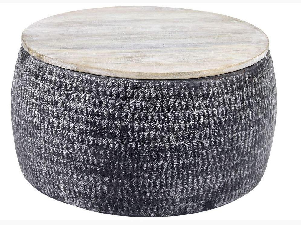 Ronde salontafel Sardo 50 cm breed grijs met gepatineerd mango hout | Zaloni