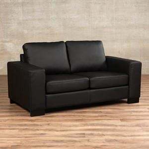 Leren bank enjoy 2 zits zwart zits bank zwart leer, bankstel zwarte kleur | ShopX