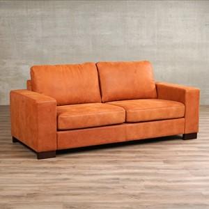 Leren bank enjoy 2.5 zits oranje zits bank oranje leer, bankstel oranje kleur   ShopX