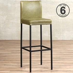Leren barstoel break hoog, groen leer, groene barkruk | ShopX