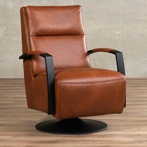 Leren draaifauteuil award bruin, bruin leer, bruine draaistoel | ShopX