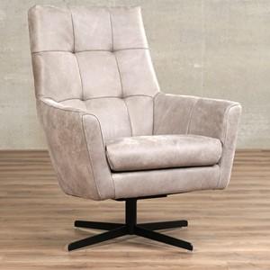 Leren draaifauteuil central grijs, grijs leer, grijze draaistoel | ShopX