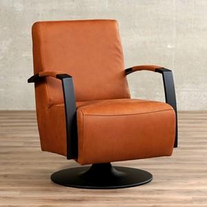 Leren draaifauteuil mood bruin, bruin leer, bruine draaistoel | ShopX