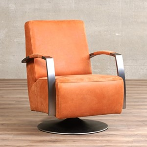 Leren draaifauteuil mood oranje, oranje leer, oranje draaistoel | ShopX