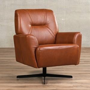 Leren draaifauteuil smooth bruin, bruin leer, bruine draaistoel | ShopX