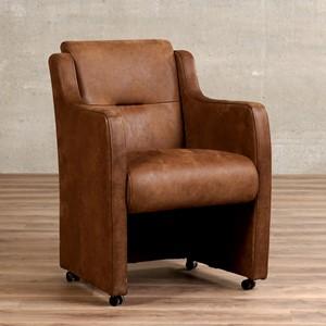 Leren eetkamerfauteuil mass bruin, bruin leer, bruine keukenstoelen | ShopX