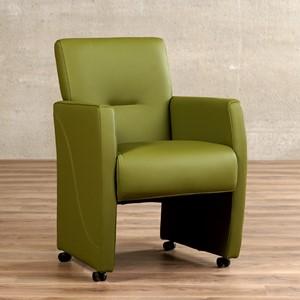 Leren eetkamerfauteuil pleasure groen, groen leer, groene keukenstoelen   ShopX