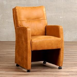 Leren eetkamerfauteuil sharp bruin, bruin leer, bruine keukenstoelen | ShopX