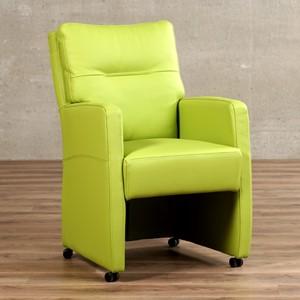 Leren eetkamerfauteuil sharp groen, groen leer, groene keukenstoelen   ShopX