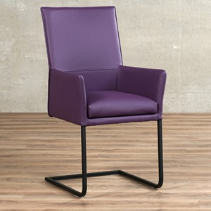 Leren eetkamerstoel ruler met armleuning paars, paars leer, paarse keukenstoelen | ShopX