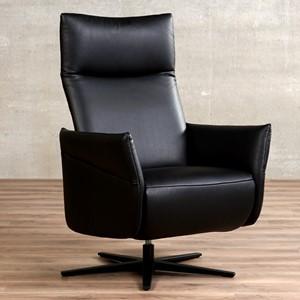 Leren relaxfauteuil ease zwart, zwart leer, zwarte stoel | ShopX