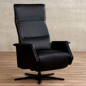 Leren relaxfauteuil mojo zwart, zwart leer, zwarte stoel | ShopX