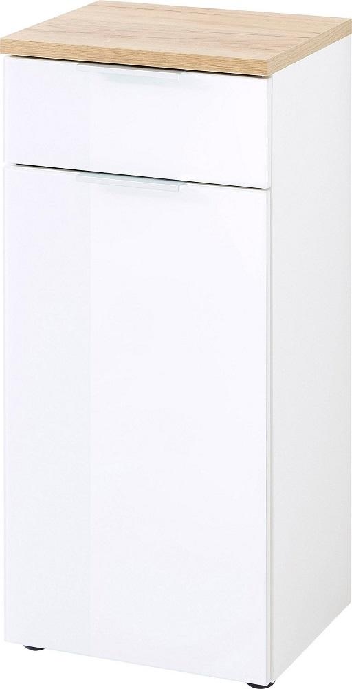 Badkamerkast Pescara 86 cm hoog in wit met navarra eiken   Germania