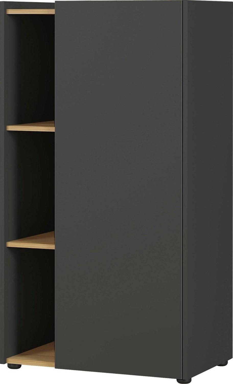 Boekenkast Austin 115 cm hoog in grafiet met navarra eiken   Germania