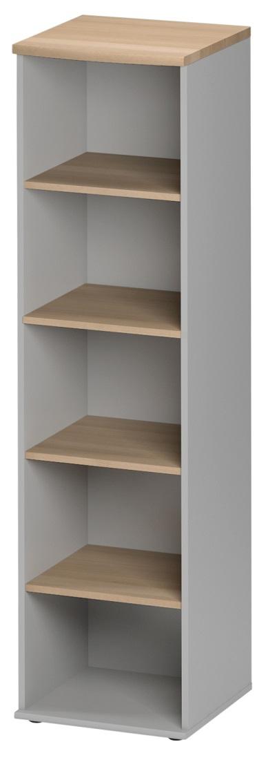 Boekenkast Jazz 1 van 183 cm hoog in beuken met licht grijs | Gamillo Furniture