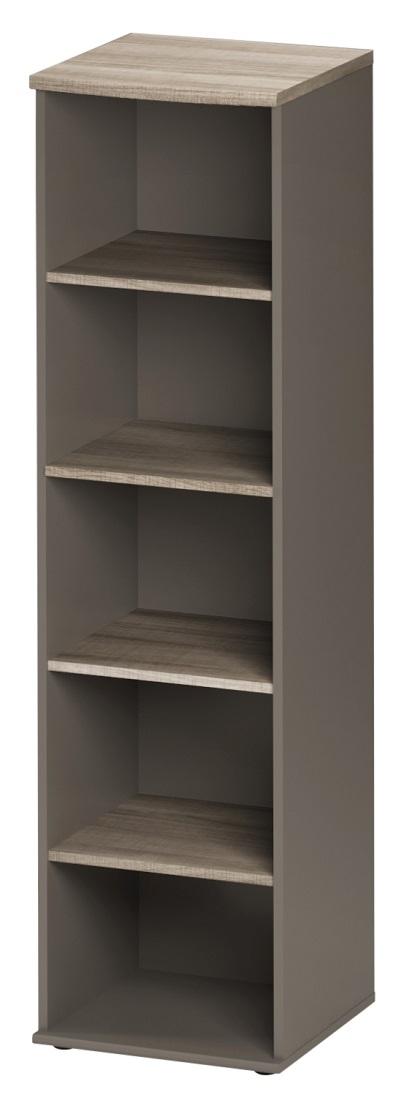 Boekenkast Jazz 1 van 183 cm hoog in grijs eiken met grijs   Gamillo Furniture