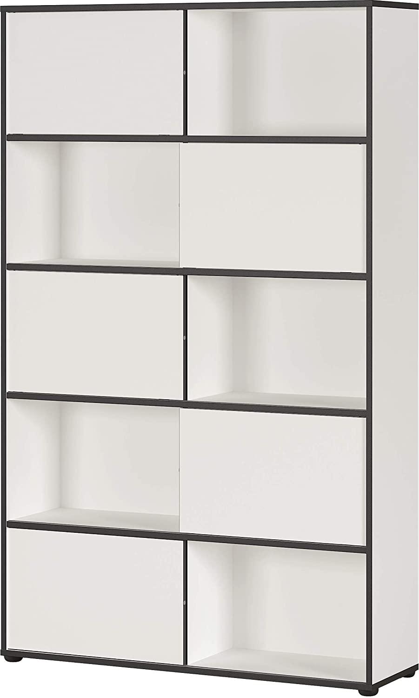Boekenkast Laredo 196 cm hoog in wit met zwart   Germania