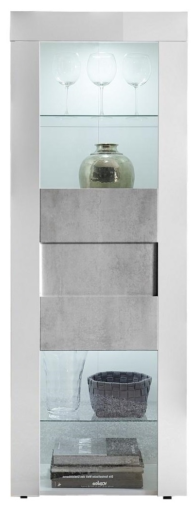 Buffetkast Easy 167 cm hoog hoogglans wit met grijs beton | Pesaro Mobilia