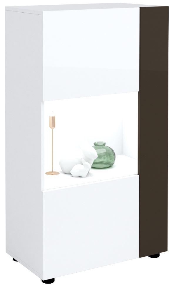 Buffetkast Karat 125 cm hoog in hoogglans wit met antraciet | Ameubelment
