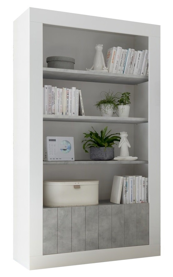 Buffetkast Urbino 190 cm hoog in hoogglans wit met grijs beton | Pesaro Mobilia