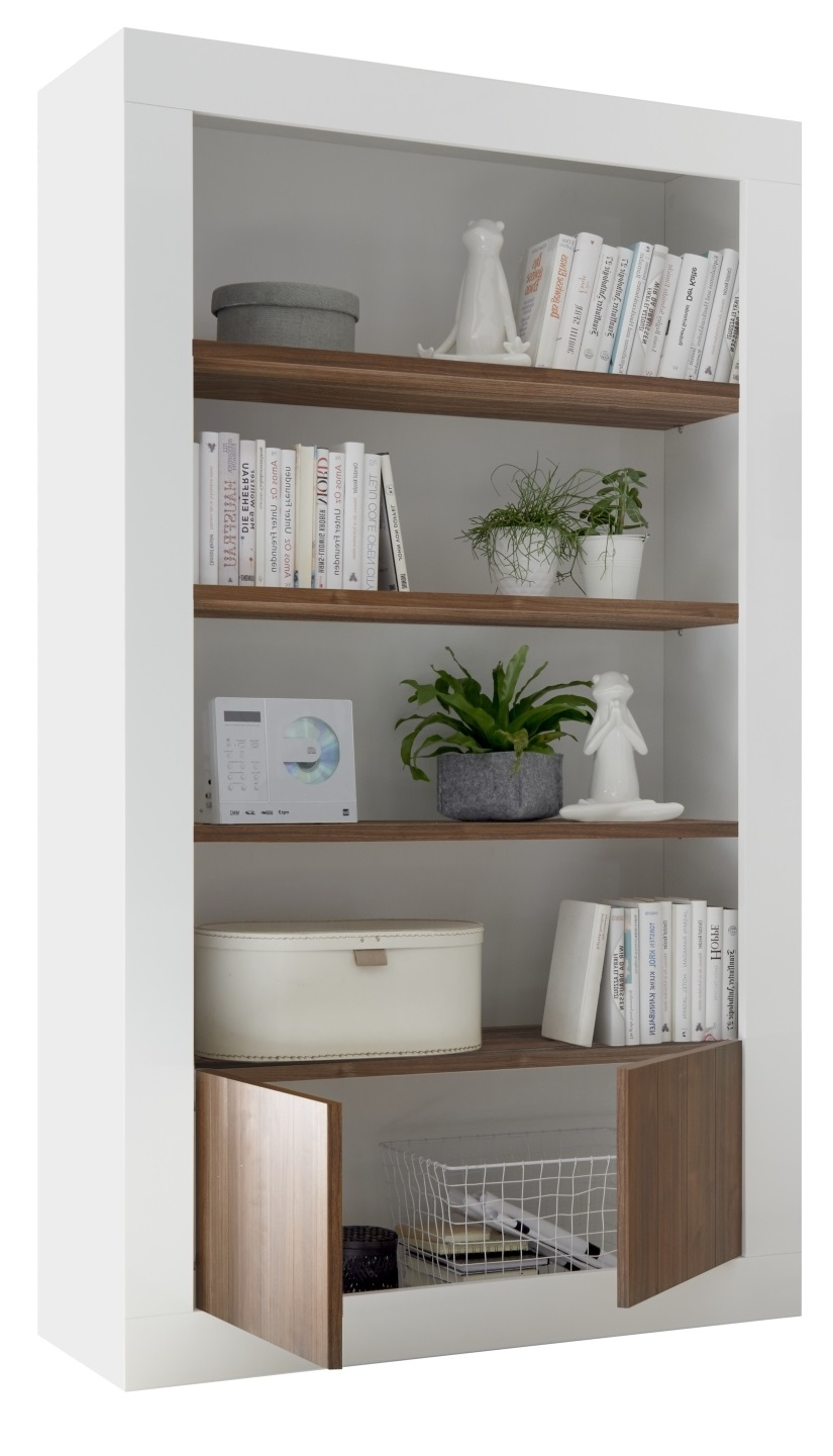 Buffetkast Urbino 190 cm hoog in hoogglans wit met walnoot | Pesaro Mobilia