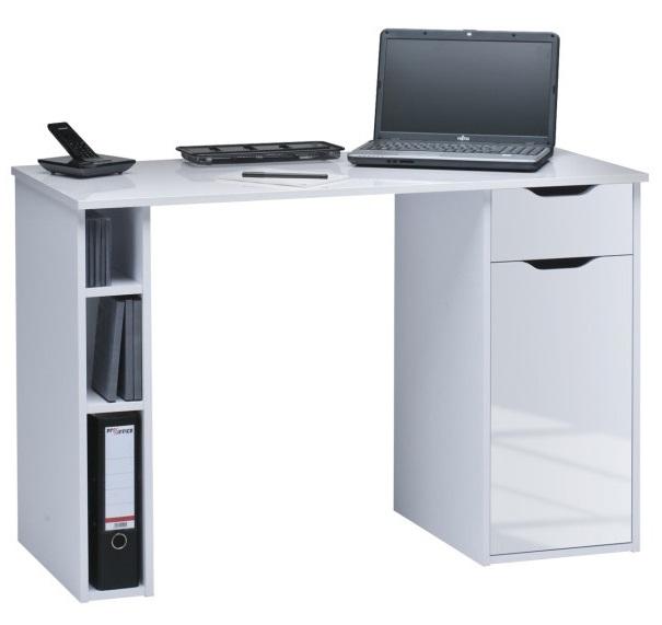 Bureau Manus 115 cm breed in wit met hoogglans wit | Bermeo