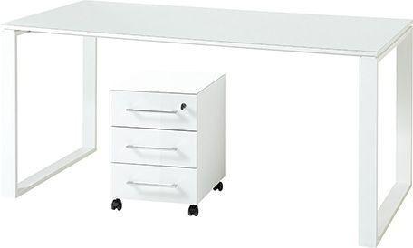 Bureau Set Monteria van 160 cm breed in wit met ladeblok   Germania