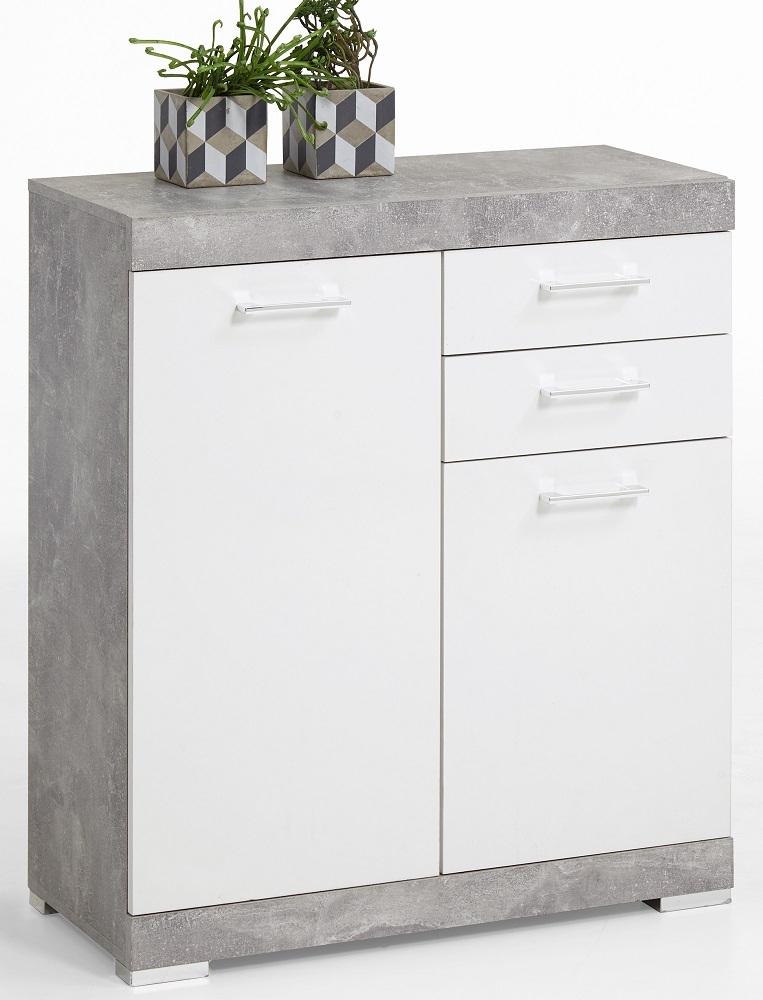 Commode Bristol 2 van 90 cm hoog in grijs beton met wit | FD Furniture