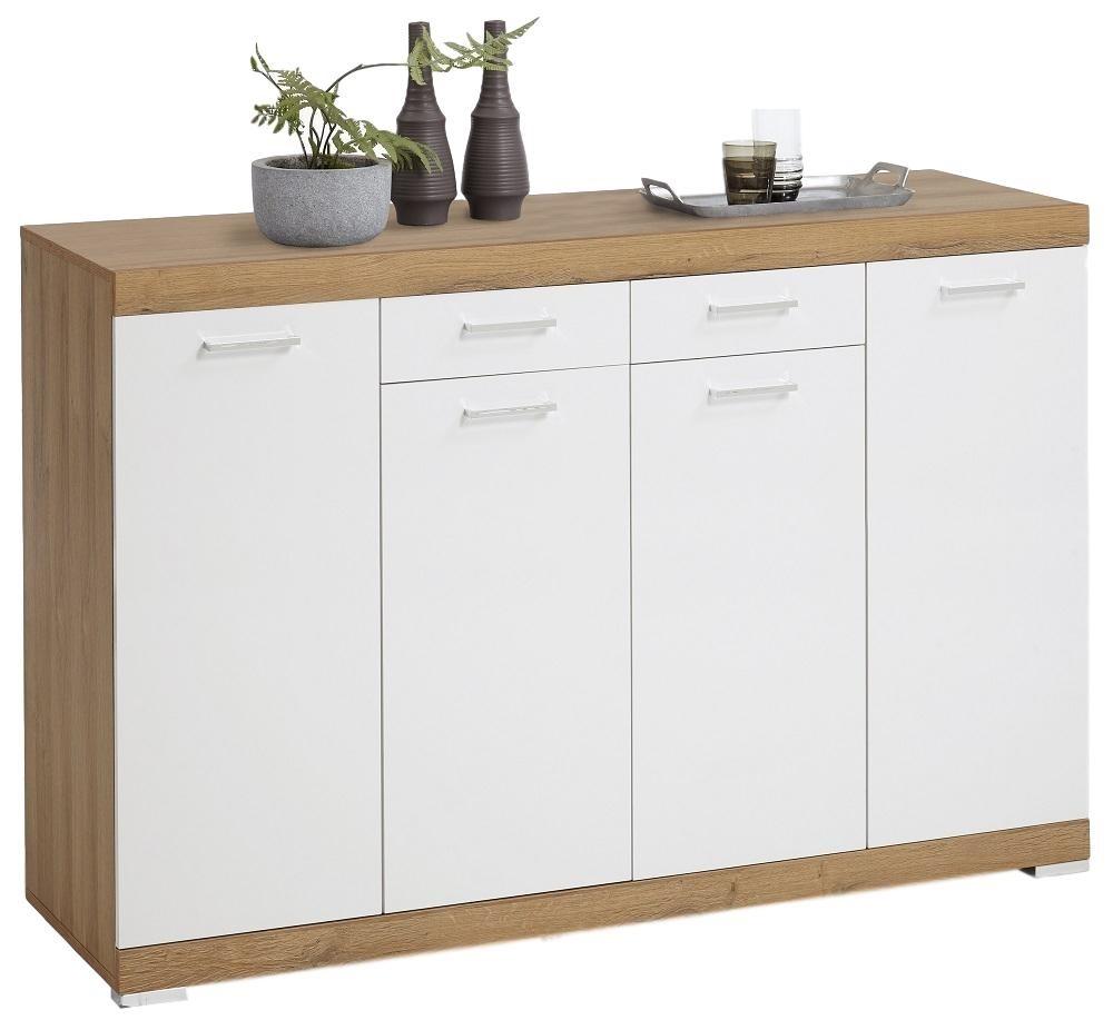 Dressoir Bristol 44 XL van 160 cm breed in oud eiken met wit | FD Furniture