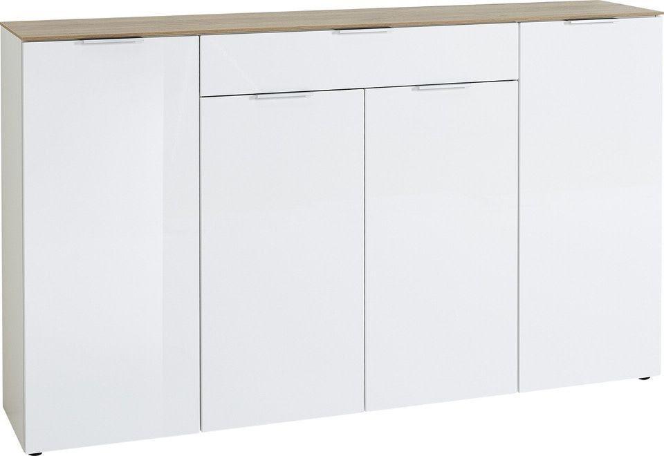 Dressoir Cetano 179 cm breed – Hoogglans wit met navarra Eiken | Germania