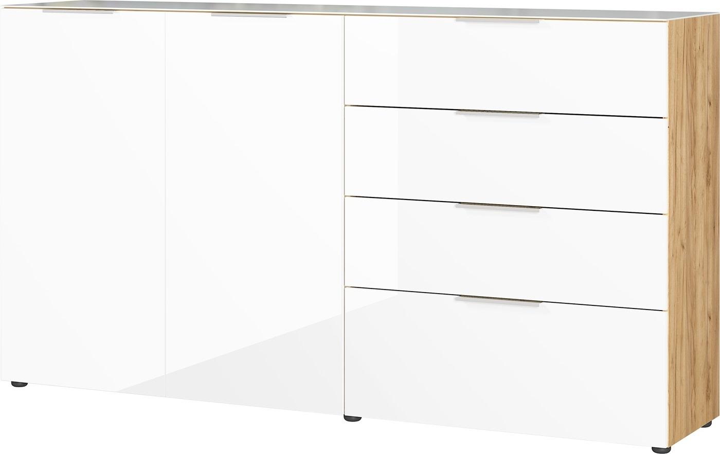Dressoir Oakland 184 cm breed in wit met navarra eiken | Germania