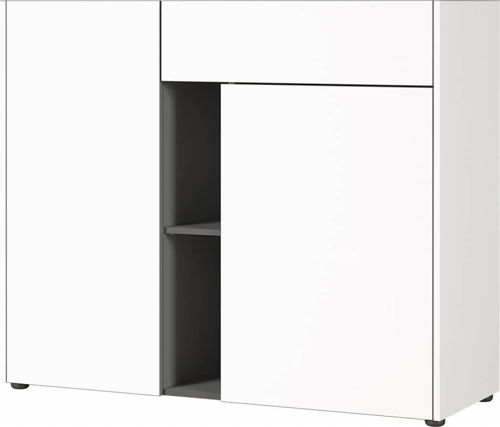 Dressoir Veluva 112 cm breed in wit met grafiet | Germania