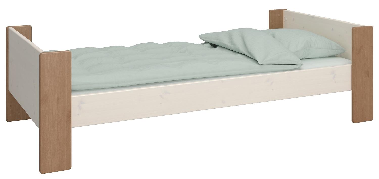 Eenpersoonsbed Kids 90x200cm in wit whitewash met steen | DS Style
