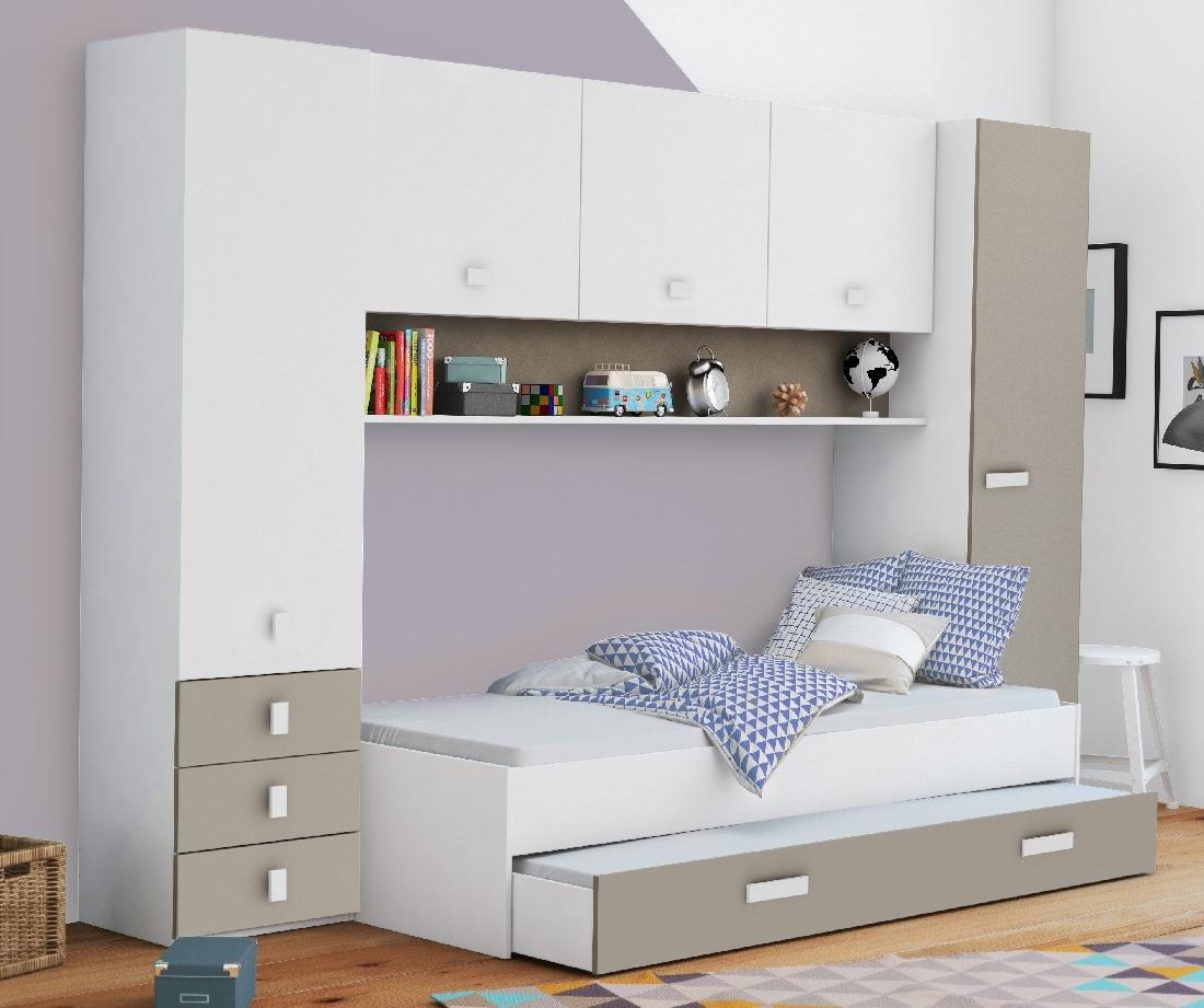Eenpersoonsbed Tidy 90x200cm in wit met klei ALL INN | Young Furniture