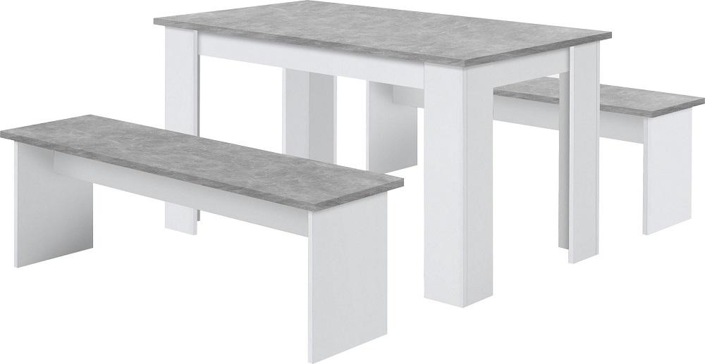 Eettafel set Dornum 138 cm breed in grijs beton met 2 banken | FD Furniture