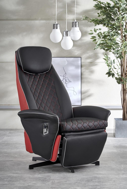 Fauteuil Camaro in zwart met rood | Home Style