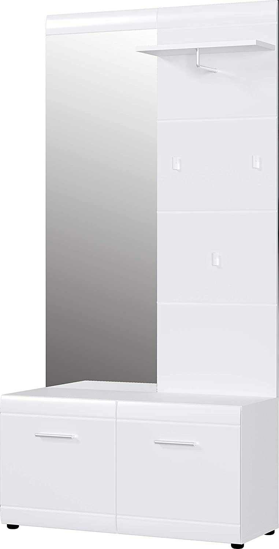 Halmeubelset Adana 195 cm hoog in hoogglans wit | Germania