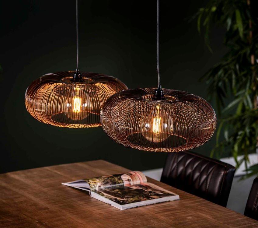 Hanglamp Disk 102 cm breed in zwart nikkel | Zaloni