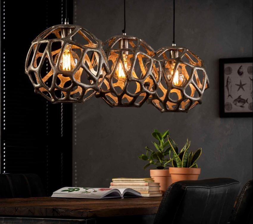 Hanglamp Dolly 120 cm breed in antiek nikkel | Zaloni