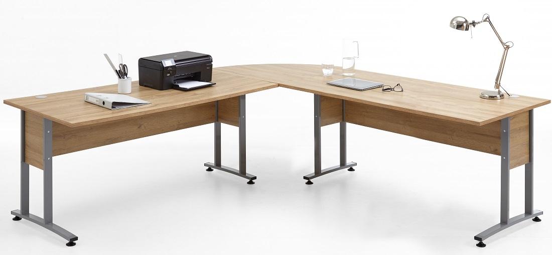 Hoekbureau Calvia van 240x75x240 cm breed in oud eiken | FD Furniture