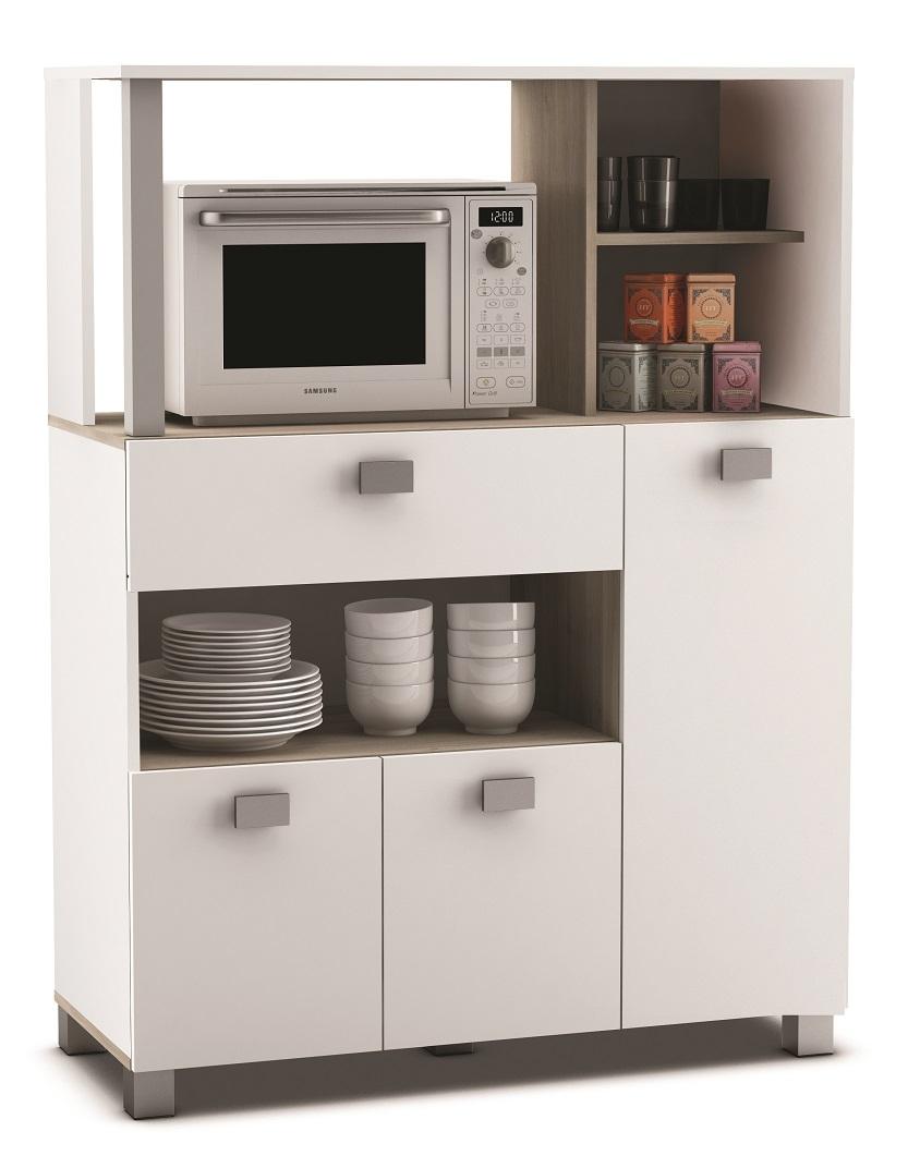 Keukenkast Basal 132 cm hoog in wit met acacia | Young Furniture