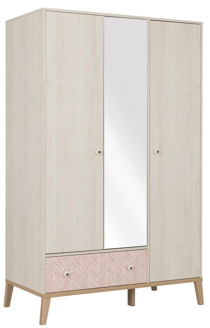 Kledingkast Alika 126 cm breed in wit kastanjehout | Gamillo Furniture