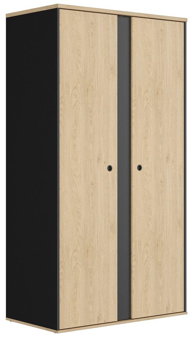 Kledingkast Duplex 105 cm breed in naturel kastanje met zwart | Gamillo Furniture