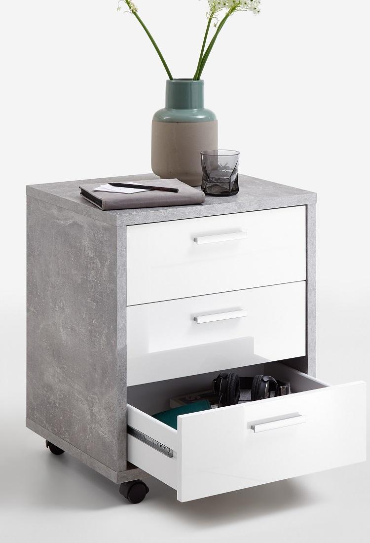 Ladeblok Brick 60 cm hoog in grijs beton met hoogglans wit | FD Furniture